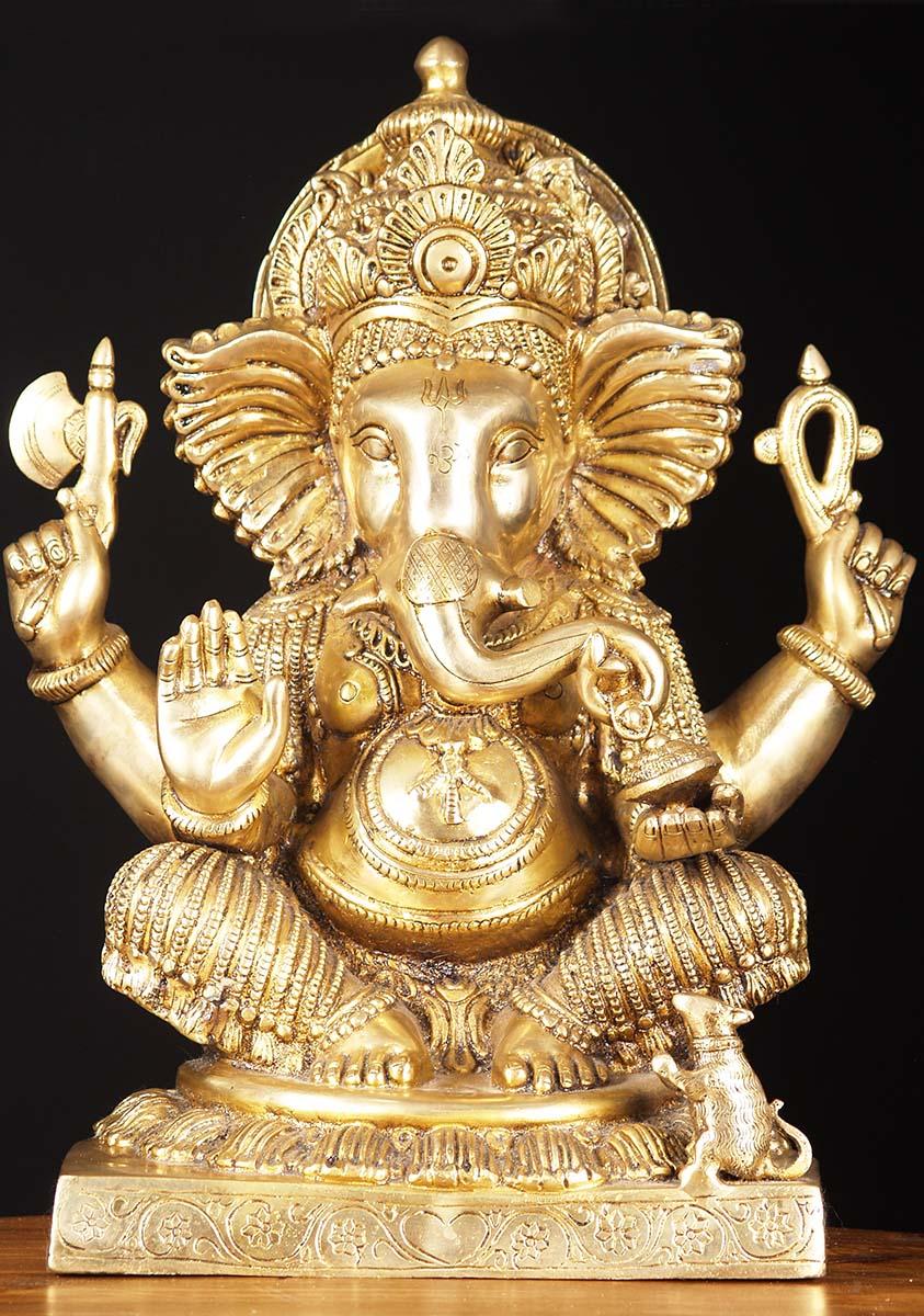 Sold Brass Polished Gold Ganesha Sculpture 18 Quot 72bs38b