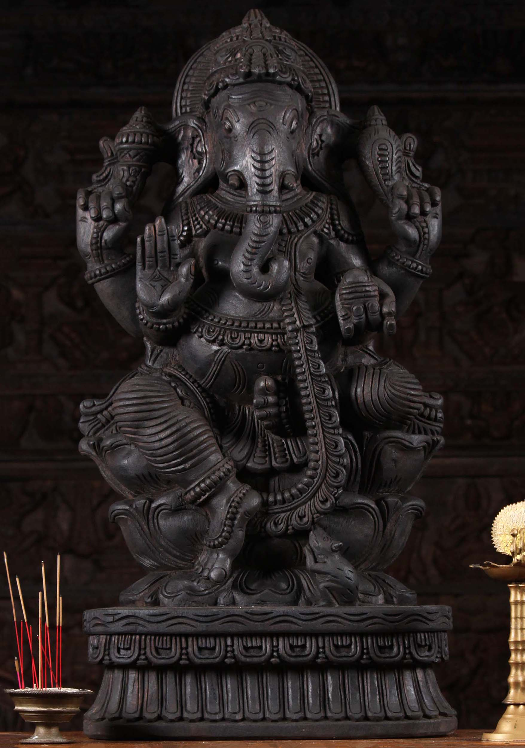 Sold Wood Abhaya Mudra Ganesh Statue 35 Quot 98w9ak Hindu