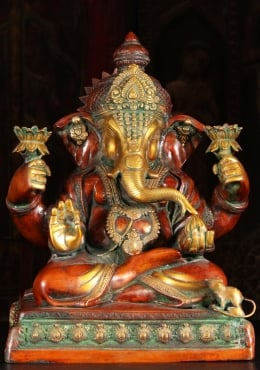 Teaching Ganesh Holding Lotus Flowers & Laddu 17