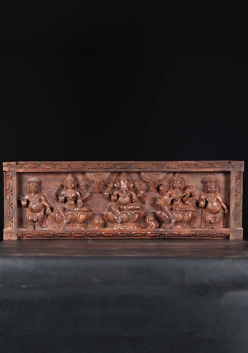 Sold Ganesh Lakshmi Saraswati Wood Panel 36 Quot 76w50