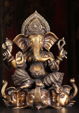 Brass Ganesh Seated on 3 Elephant Head Base 17