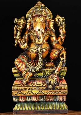 Wooden Painted Ganesh Holding Club 24