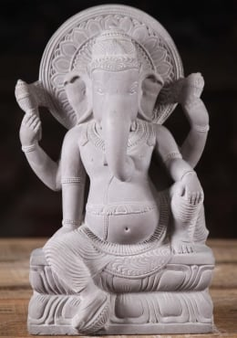 Grey Marble Ganesh Statue Relaxing with Halo 11