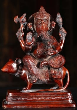 Brass Ganesh Riding His Vehicle Mooshika 9
