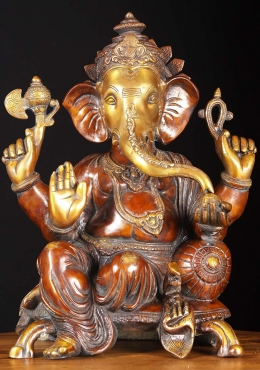 Brass Ganesha Seated On Chair 18