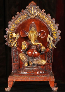 Brass Ganesh Statue with Rat Arch & Throne 17