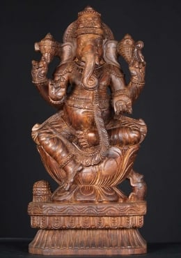 Wooden Seated Ganesha Carving 24