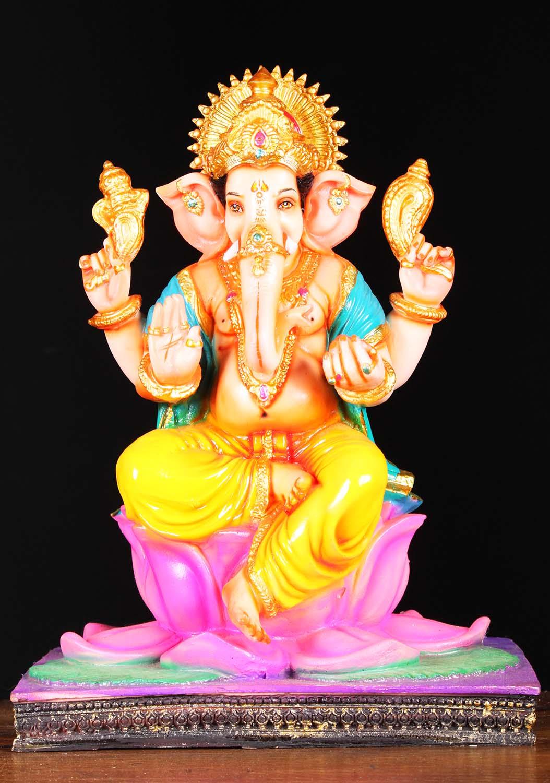 Fiber ganesh seated on lotus flower base 17 1f16z hindu gods fiber ganesh seated on lotus flower base 17 dhlflorist Gallery