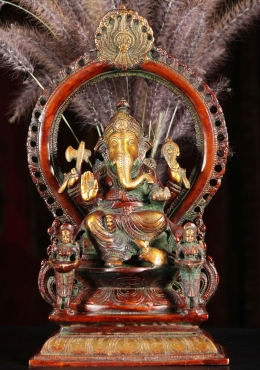 Brass Ganesh On Throne with 2 Deepa Lakshmi 14