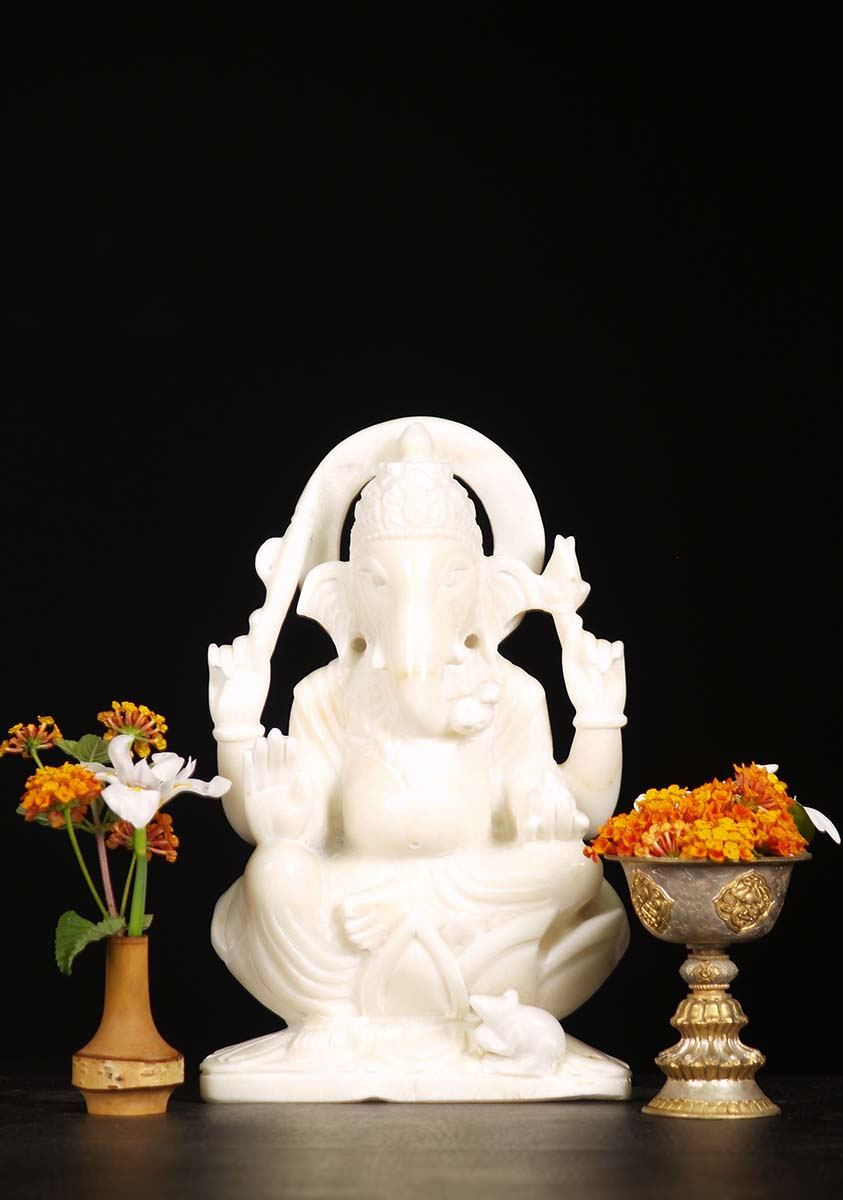 Sold White Marble Seated Ganesh Statue 12 Quot 71wm44a