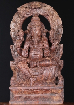 Wood Ganesh Statue with Arch Hand Carving 18