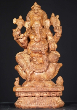 Natural Wood Ganesh Statue with Rat 24