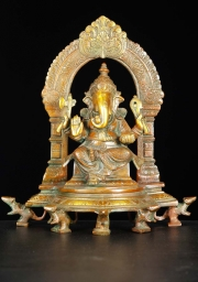 Brass Abhaya Ganesh with 5 Rats 11