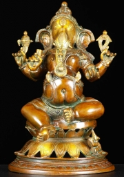 Brass Ganesh with Rat Statue 14
