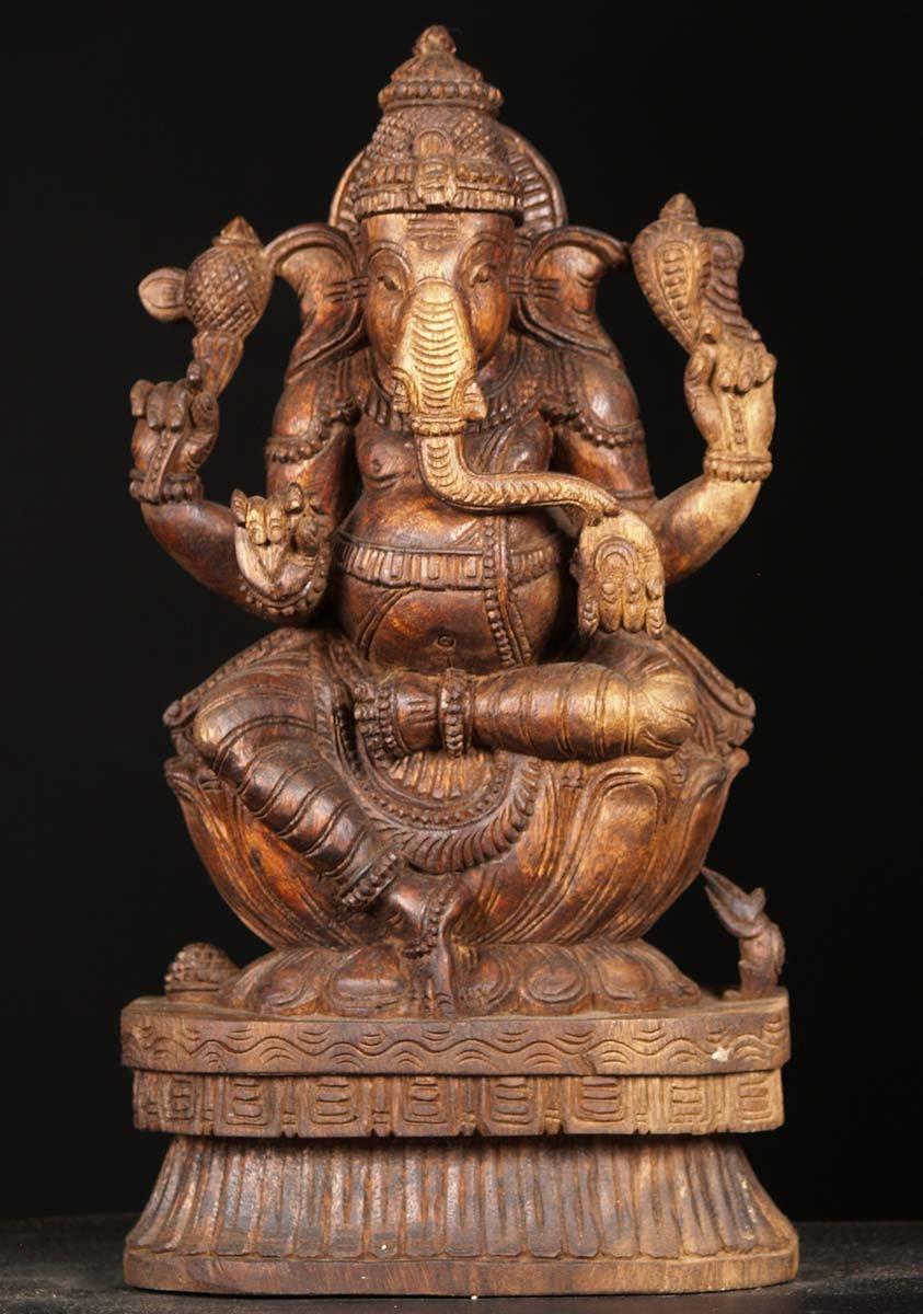 Sold wooden ganesha carving quot w bi hindu gods