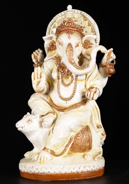 Fiber Seated Ganesha on Rat Statue 11