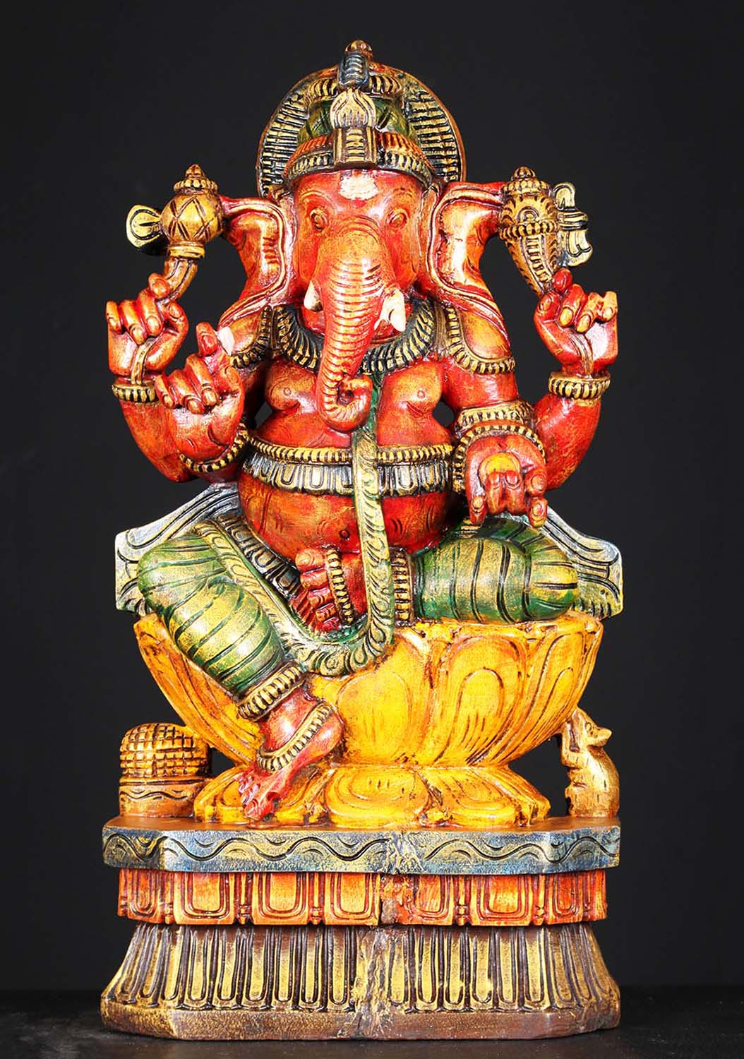 Sold Wooden Red Ganesha Statue With Rat 24 Quot 76w1jv