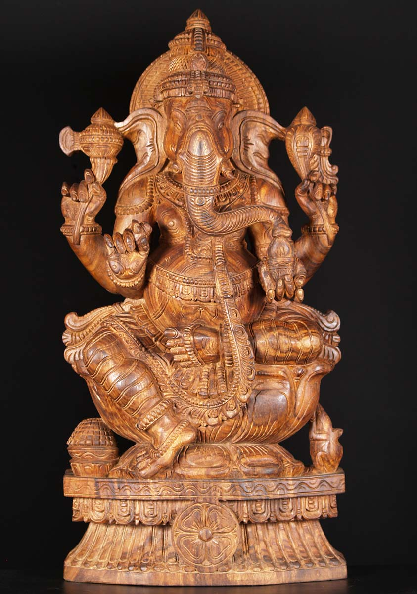 "SOLD Wooden Ganesha Carving 36"" (#76w2bg): Hindu Gods ..."