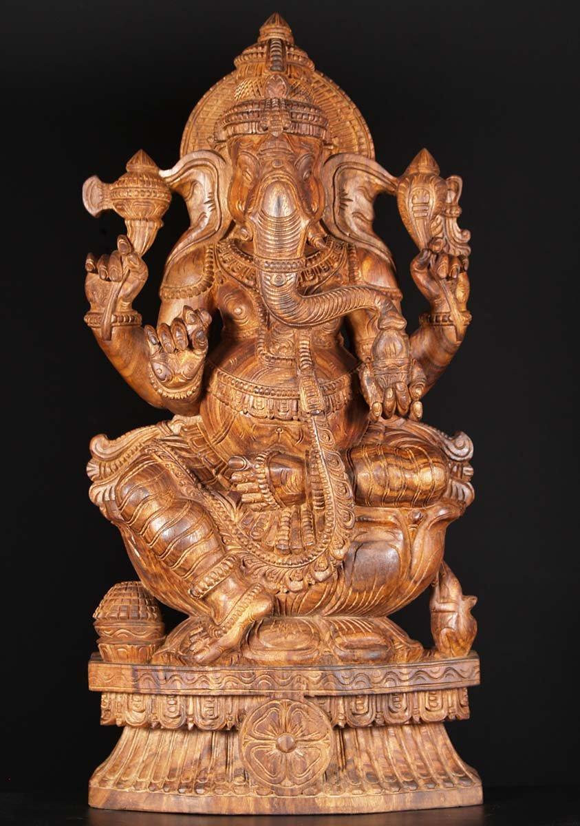 Sold wooden ganesha carving quot w bg hindu gods