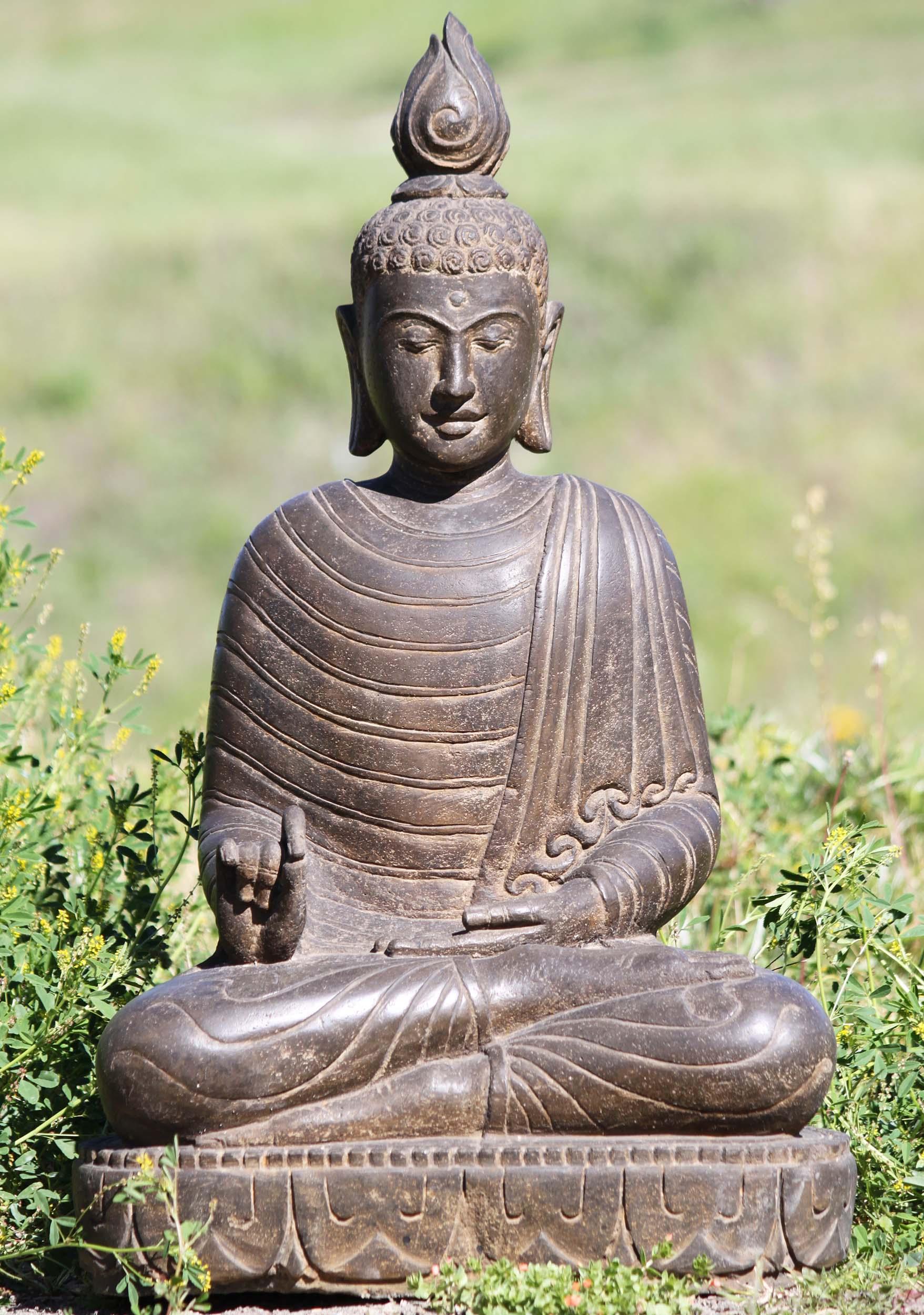 "Buddha Statues For The Garden: SOLD Stone Teaching Garden Buddha Sculpture 28"" (#105ls433"