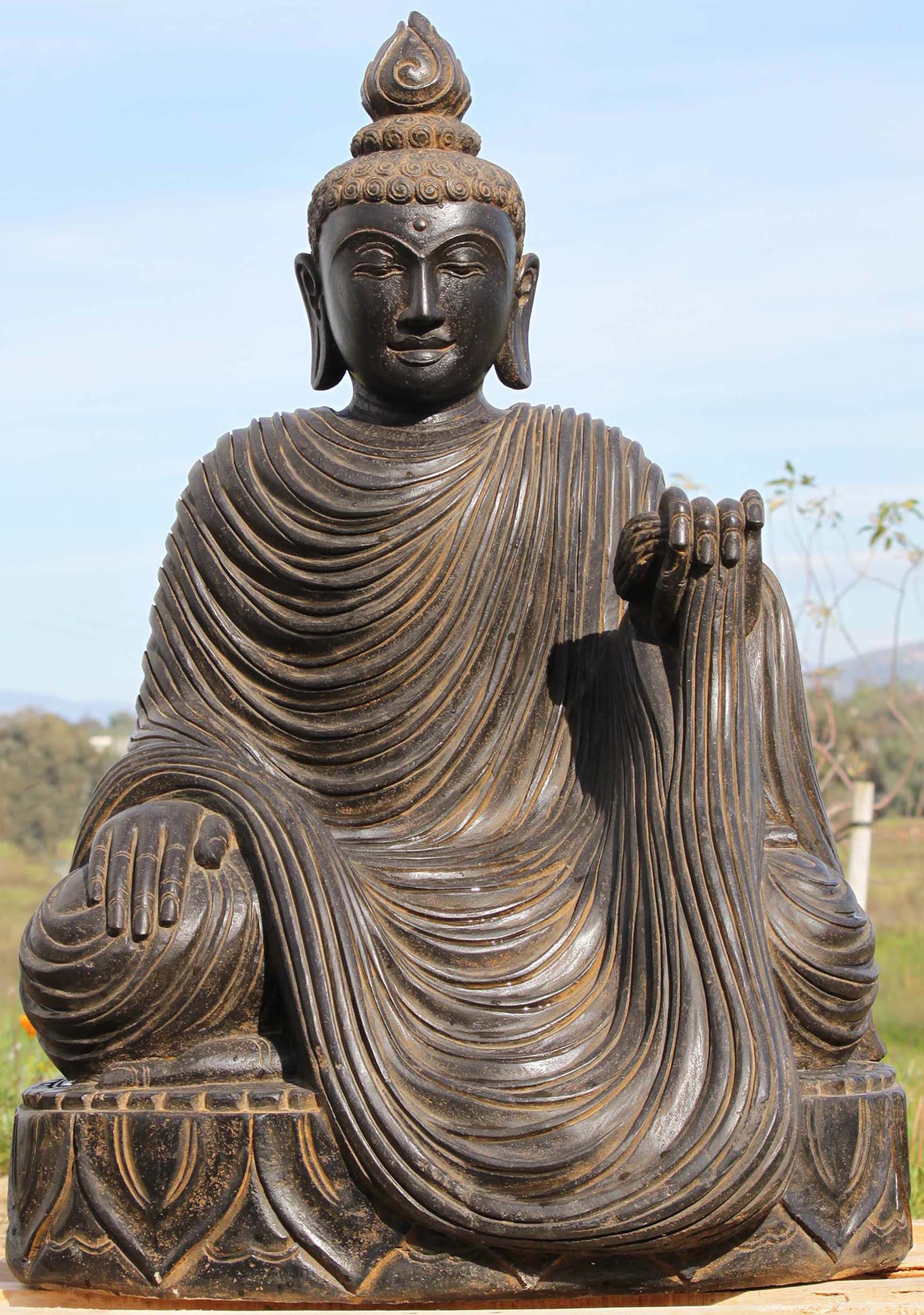 Stone garden buddha with flowing robes 39 97ls295 hindu gods stone garden buddha with flowing robes 39 workwithnaturefo