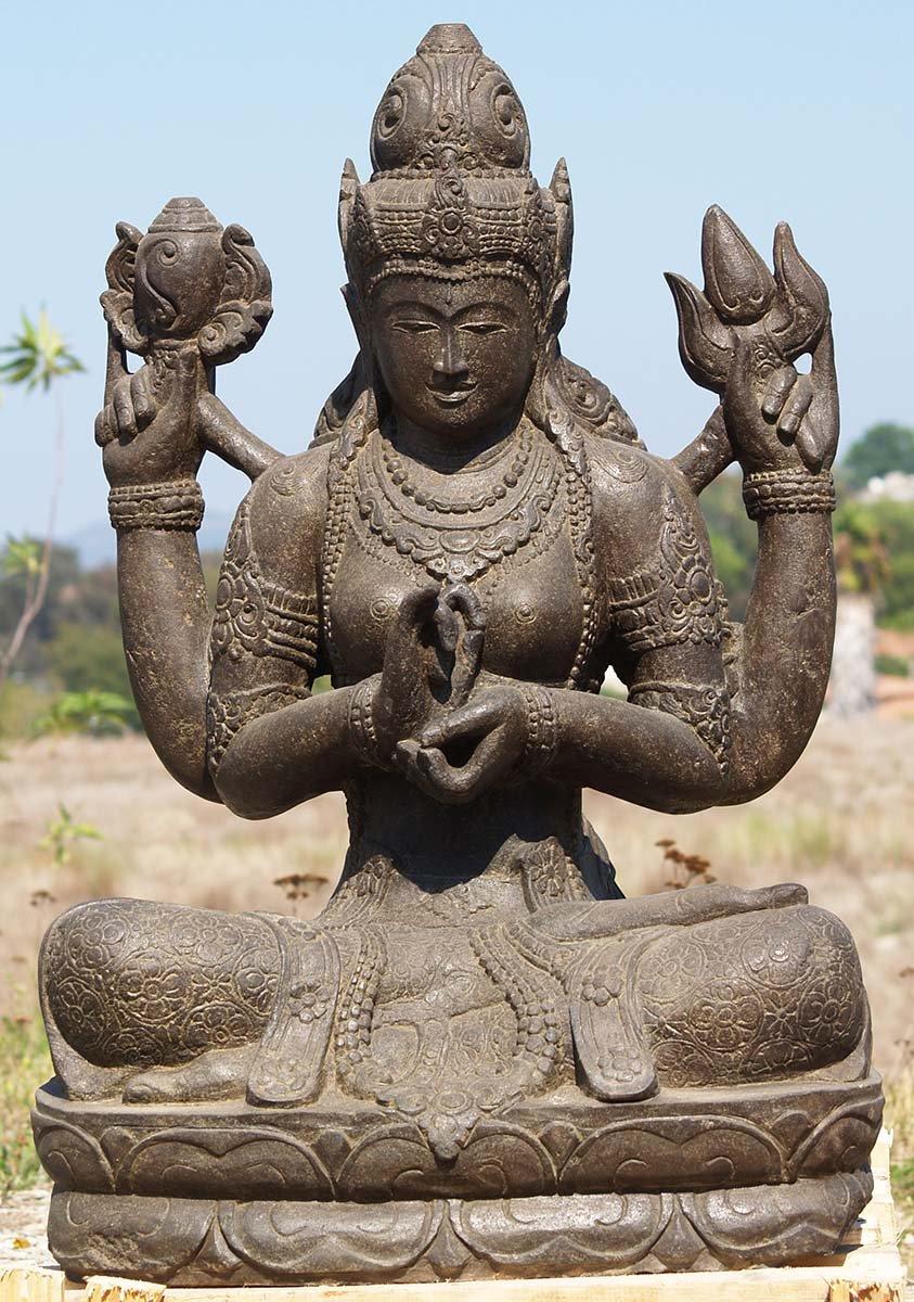 Sold stone dharmachakra lakshmi statue 37 85ls136 hindu gods buddha statues - God and goddess statues ...