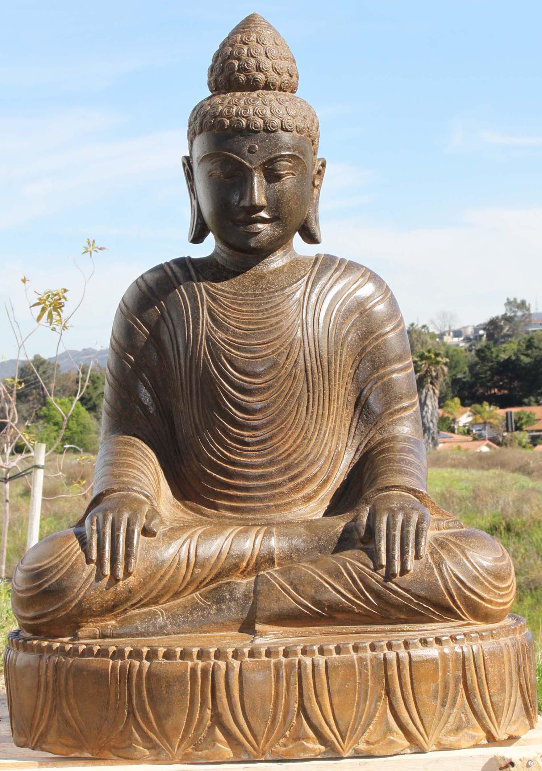Stone shamatha meditating buddha statue 39 97ls285 for Outdoor buddha