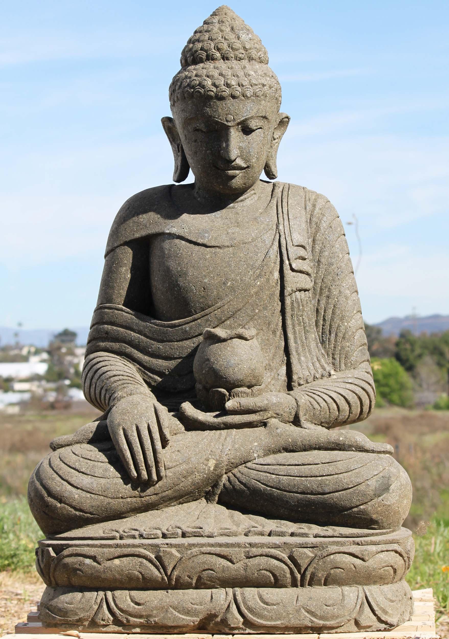 "Stone Garden Buddha Statue Holding Alms Bowl 41"" (#97ls296 ..."