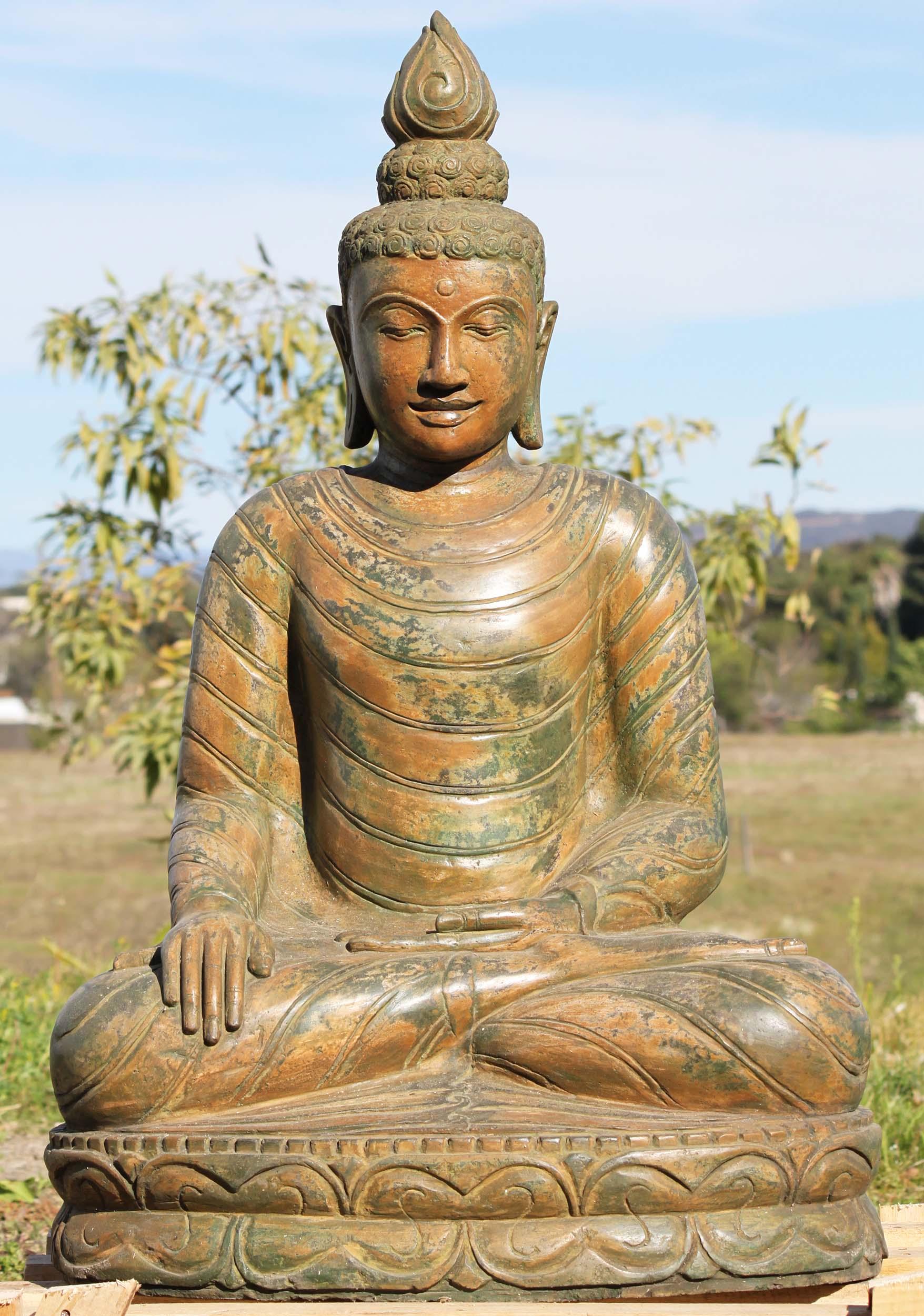 Stone garden earth touching buddha statue 37 105ls434 hindu stone garden earth touching buddha statue 37 workwithnaturefo