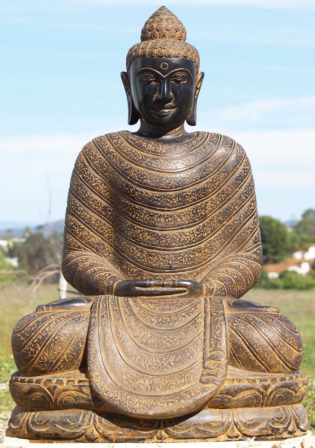 Ups Ground Shipping Time >> SOLD Stone Meditating Garden Buddha Sculpture 40 ...