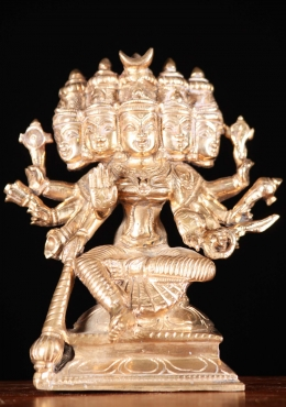 Bronze Gayatri Statue with 10 Arms & 5 Heads 5