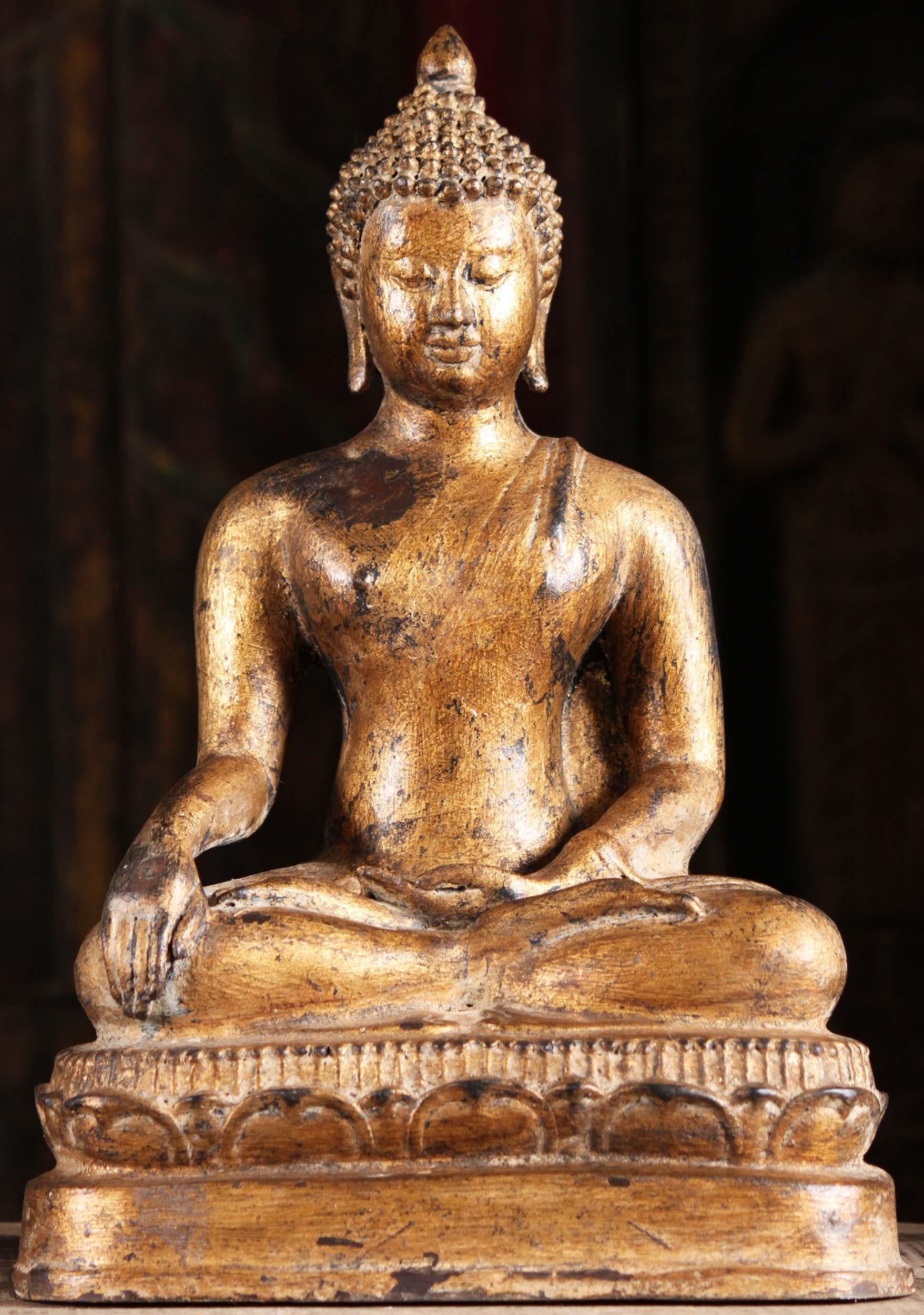 Gold Leaf Lanna Style Thai Buddha Statue 14 Quot 104t17