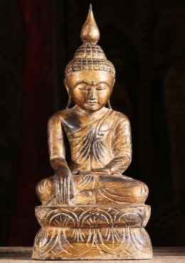 Gold Leaf Earth Touching Buddha Statue 17