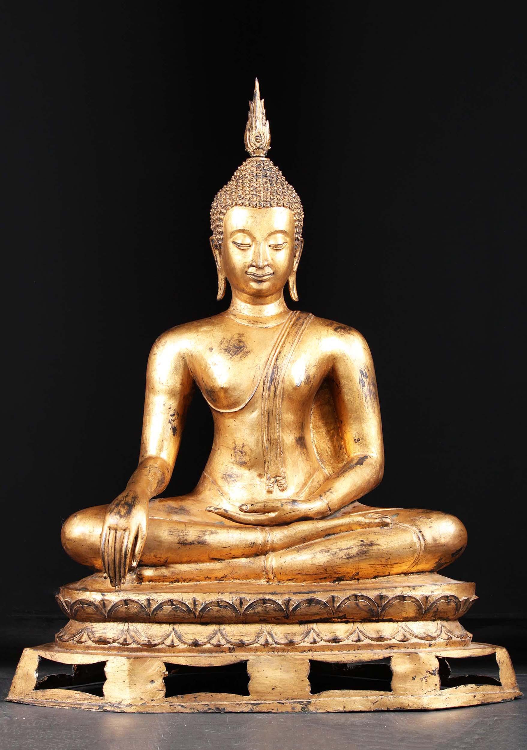 "Brass Gold Leaf Sukhothai Buddha Statue 48"" (#43t11a ..."