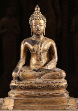 Gold Leaf Earth Touching Thai Buddha Statue 15