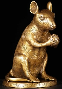 Brass Statue of Ganesha's Rat Mooshika 11