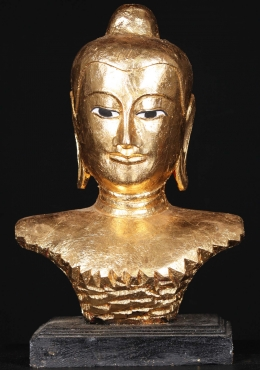 Wooden Golden Buddha Bust On Base 17