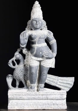 Granite Murugan With Peacock Statue 15