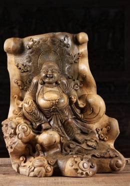 Hibiscus Wood Fat & Happy Buddha of Wealth 20