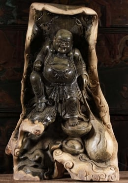 Green Hibiscus Wood Fat Buddha Statue 29