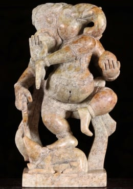 Marble Ganesha Dancing With Mooshika Statue 13