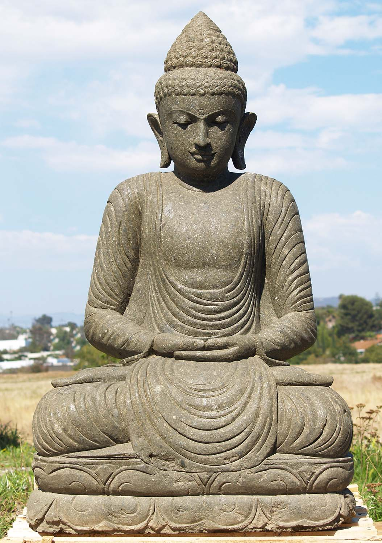 sold green stone garden buddha statue 48 86ls205 hindu gods buddha statues. Black Bedroom Furniture Sets. Home Design Ideas