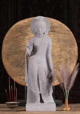 Grey Marble Teaching Gandhara Buddha Statue 26