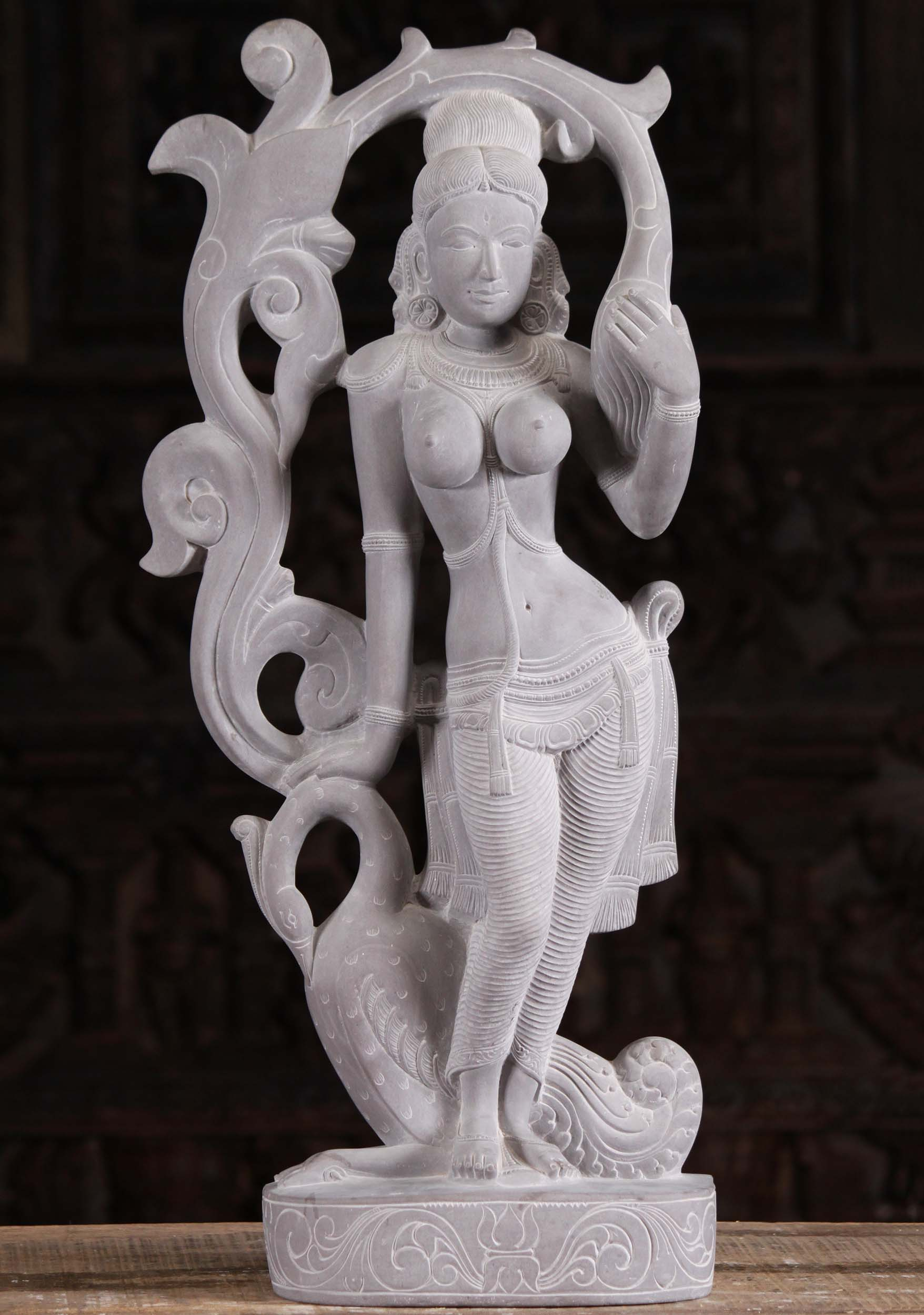 Grey Marble Uma Devi With Swan Statue