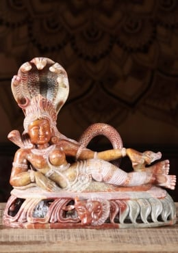 Red Marble Reclining Shiva as Ardhanari Statue 12