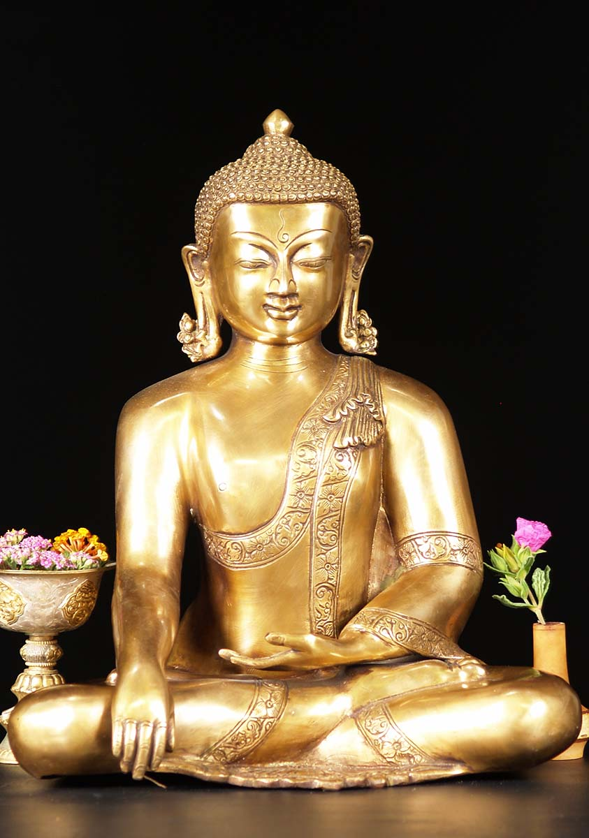 brass earth touching indian buddha statue 15 72bs31z. Black Bedroom Furniture Sets. Home Design Ideas