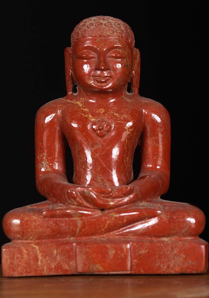 """What Is Freight Shipping >> Jain Mahavira Red Jasper Crystal Statue 8"""" (#80m91f): Hindu Gods & Buddha Statues"""