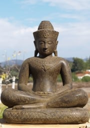 STATUE OF THE DAY Stone Khmer Buddha on Snake 34