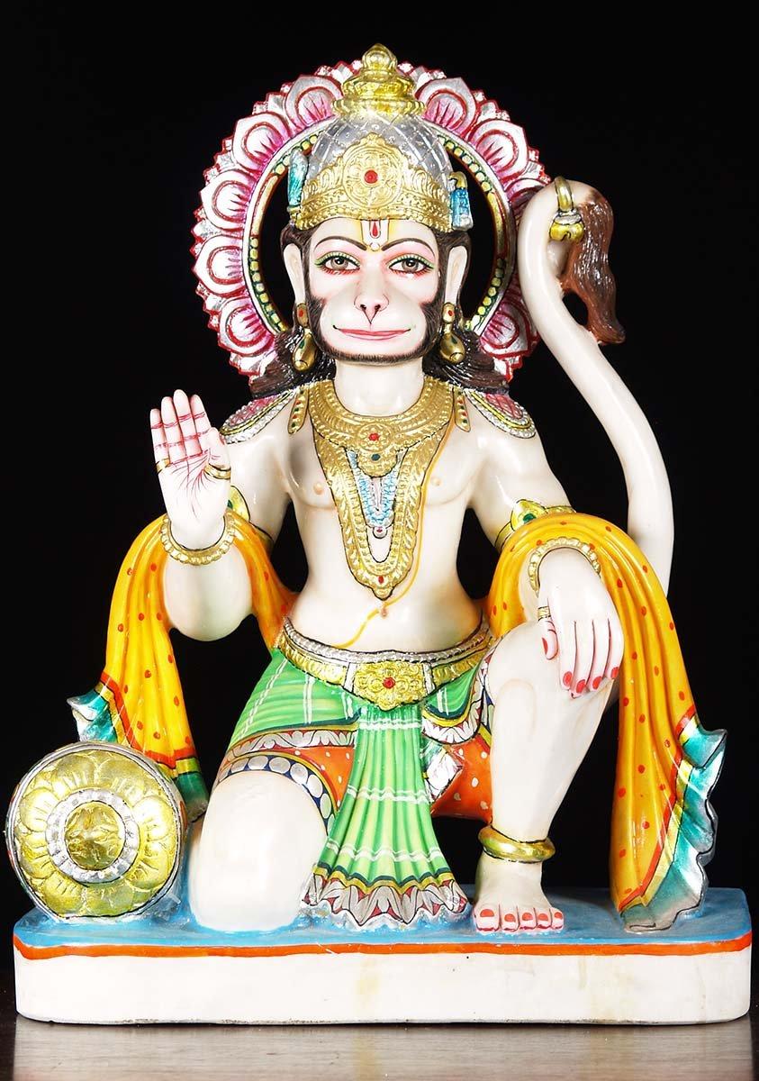 Sold White Marble Kneeling Hanuman Statue 24 Quot 71wm41c
