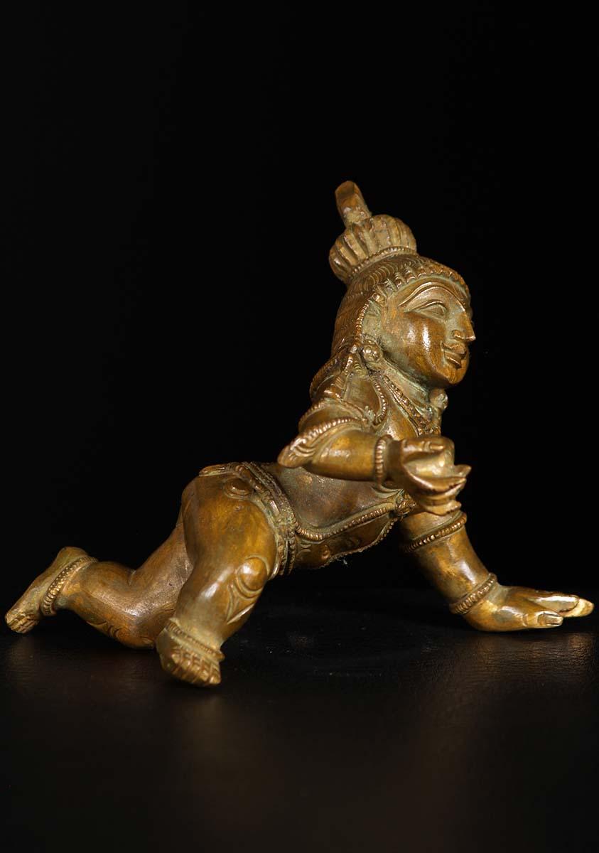 Small Bronze Krishna Crawling Statue 4 Quot 74b24z Hindu